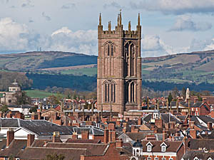 St Laurence's Church Tower dominating the Ludlow skyline. © Ian Capper, Geograph 2898302